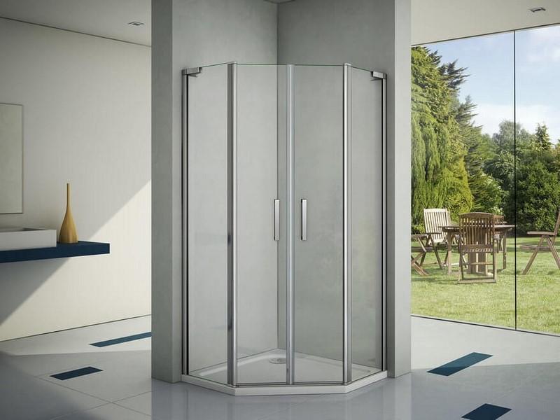 Душевой уголок Good Door Пандора PNT-ТD пятиугольный, распашные дверцы