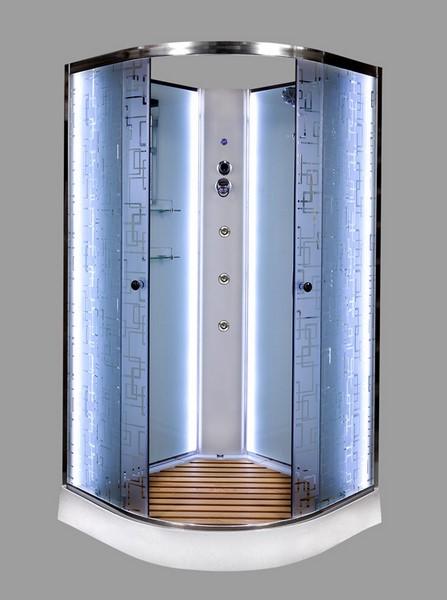 Душевая кабина DETO ЕМ1590 90х90 см с LED-подсветкой и гидромассажем