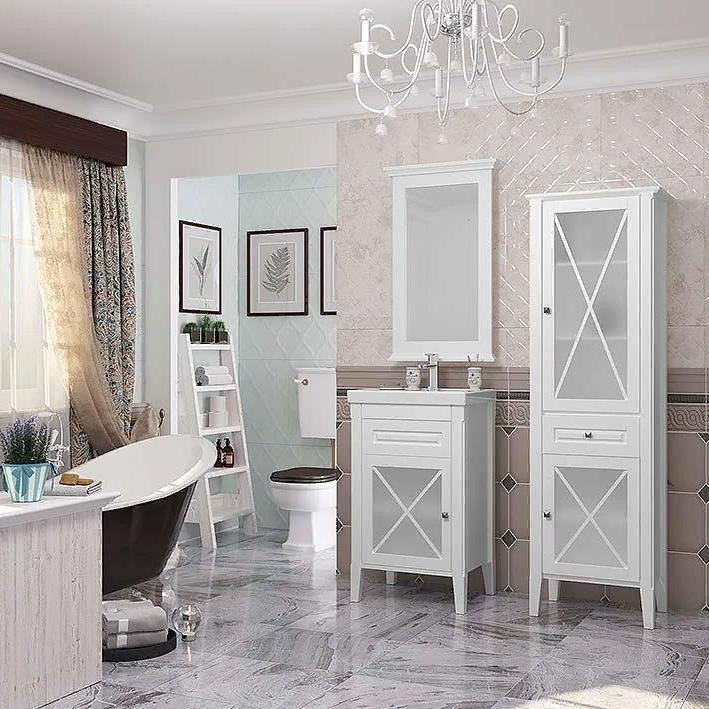 Мебель Опадирис ПАЛЕРМО 50 L цвет: белый матовый (Массив бука)