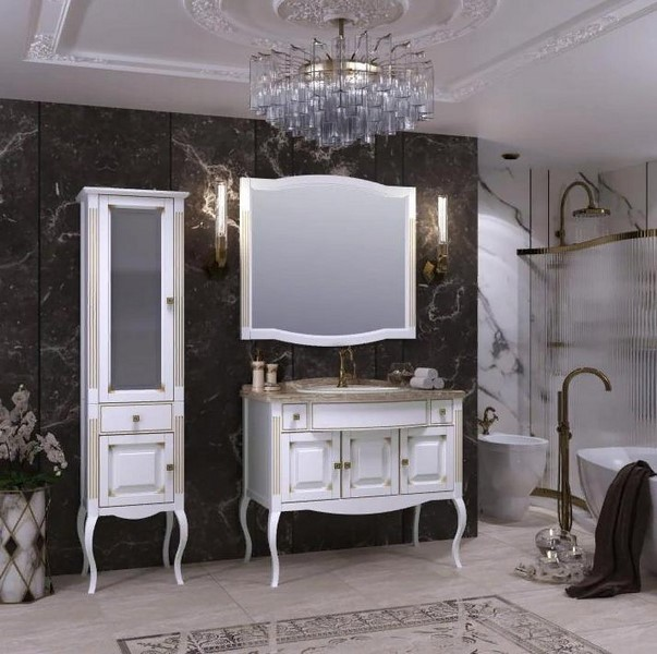 Мебель Опадирис ЛАУРА 100 мрамор цвет: белый матовый с патиной (Массив бука)