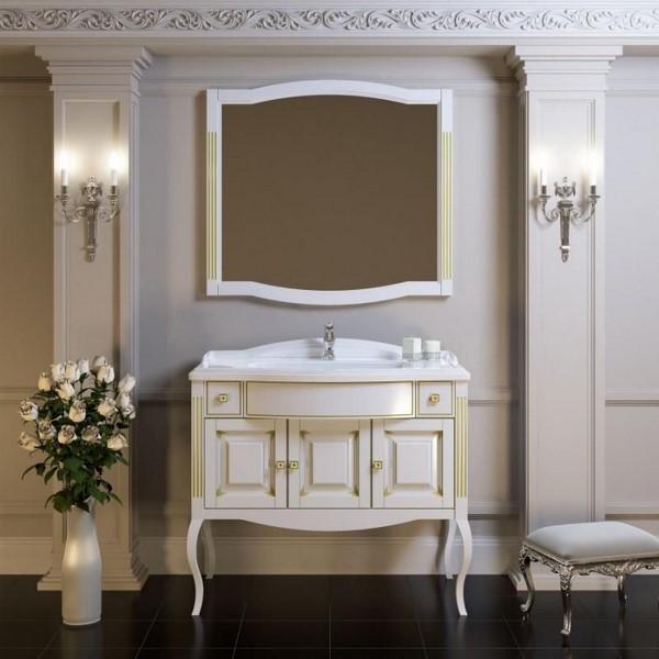 Мебель Opadiris ЛАУРА 100 с литьевой раковиной белый/бежевая патина (Массив бука)