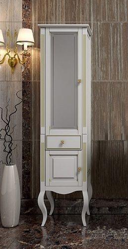 Пенал для ванной Opadiris ЛАУРА 45 белый/бежевая патина (Массив бука)