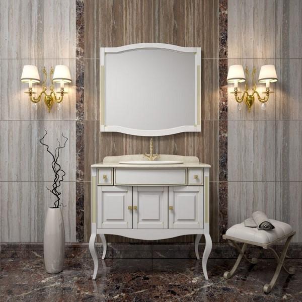 Мебель Opadiris ЛАУРА 100 мраморная столешница белый/бежевая патина (Массив бука)