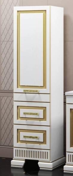 Мебель Опадирис Оникс Пенал 48 (МДФ) белый с золотой патиной