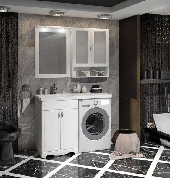 Мебель Опадирис КЛИО 120-L для стиральной машины цвет: белый матовый (Массив бука)