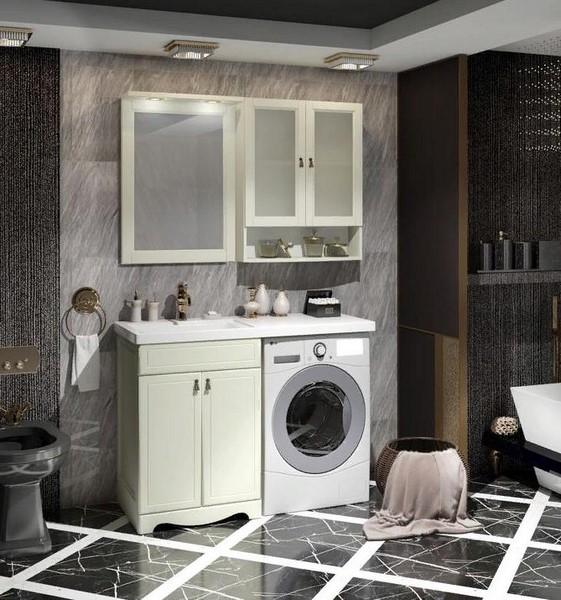 Мебель Опадирис КЛИО 120-L для стиральной машины цвет: слоновая кость (Массив бука)