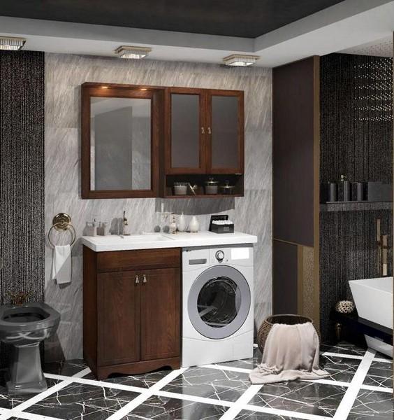Мебель Опадирис КЛИО 120-L для стиральной машины цвет: орех антикварный (Массив бука)