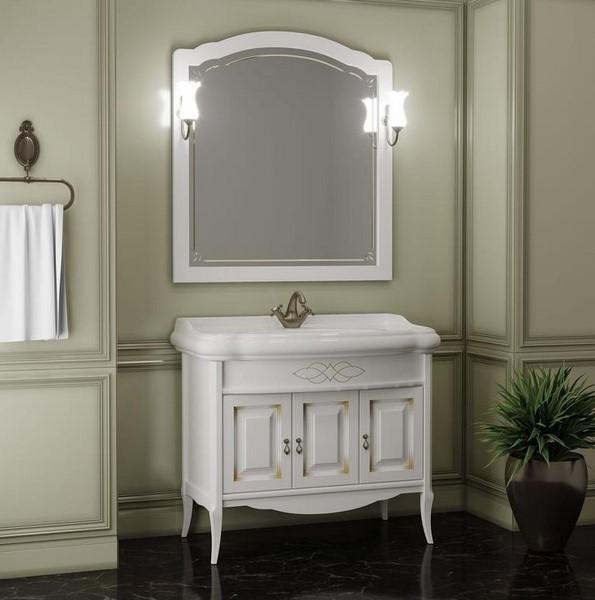 Мебель Опадирис ЛОРЕНЦО 100 цвет: белый матовый с патиной (Массив бука)
