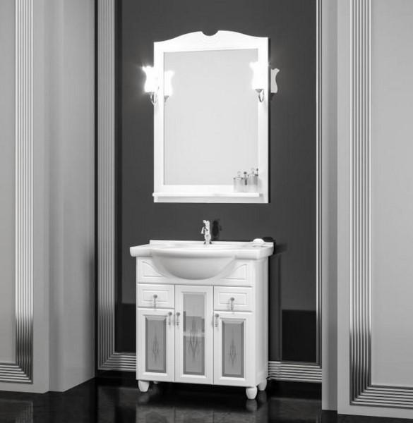 Мебель Опадирис ТИБЕТ 80 со стеклом цвет: белый матовый (Массив бука)
