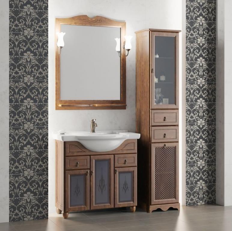 Мебель Опадирис ТИБЕТ 80 со стеклом цвет: орех антикварный (Массив бука)