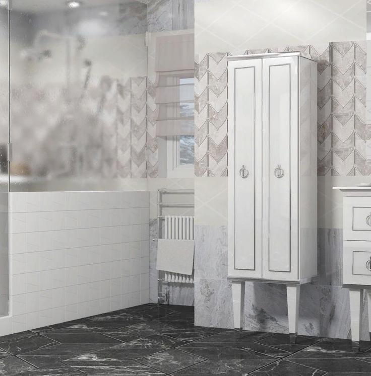 Пенал Опадирис Порто цвет: белый/хром (МДФ)